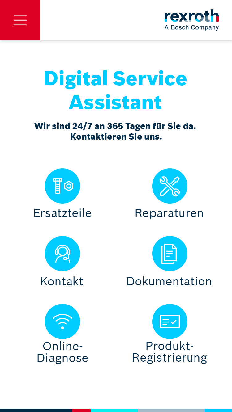 Startscreen of the Digital Service Assistant for our client Bosch Rexroth AG